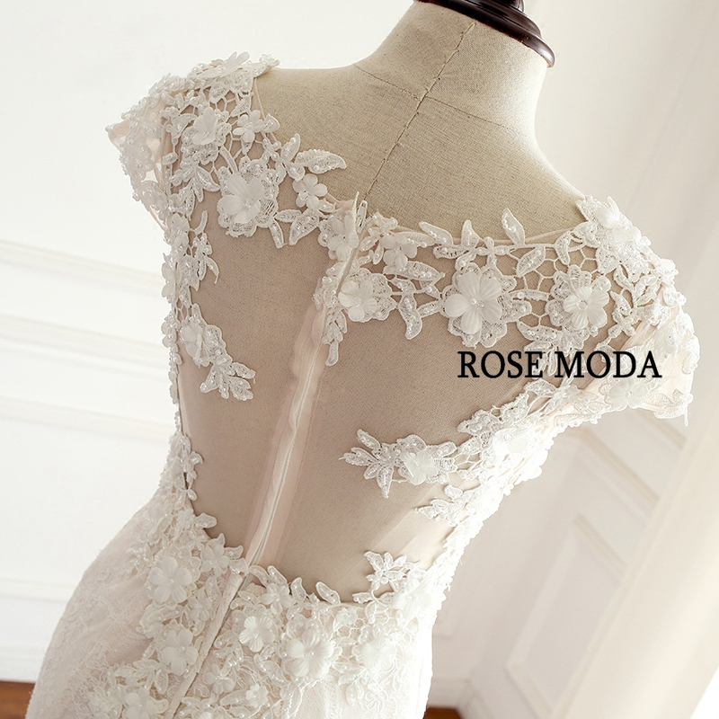 Rose Moda Chantilly Lace Wedding Dress 2019 with Cap Sleeves Blush Pink Mermaid Wedding Dresses with Ivory Lace Real Photos