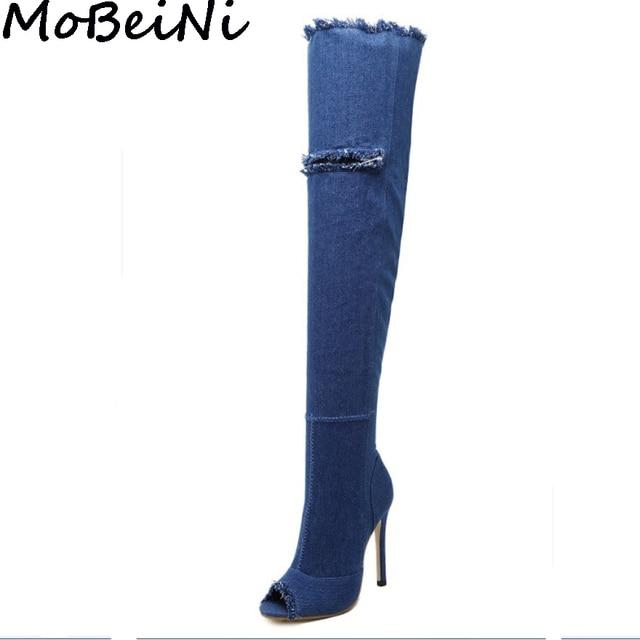 e812cee0e64 MoBeiNi Women Over The Knee Thigh High Denim Boots Frayed Cut Out Hole Peep  Toe Long Boots Woman High Heel Stiletto Pumps Autumn
