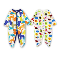 2Pcs Lot Baby Romper Cartoon Printed 100 Cotton Long Sleeve Newborn Clothing Coverall Infant Pajamas Baby