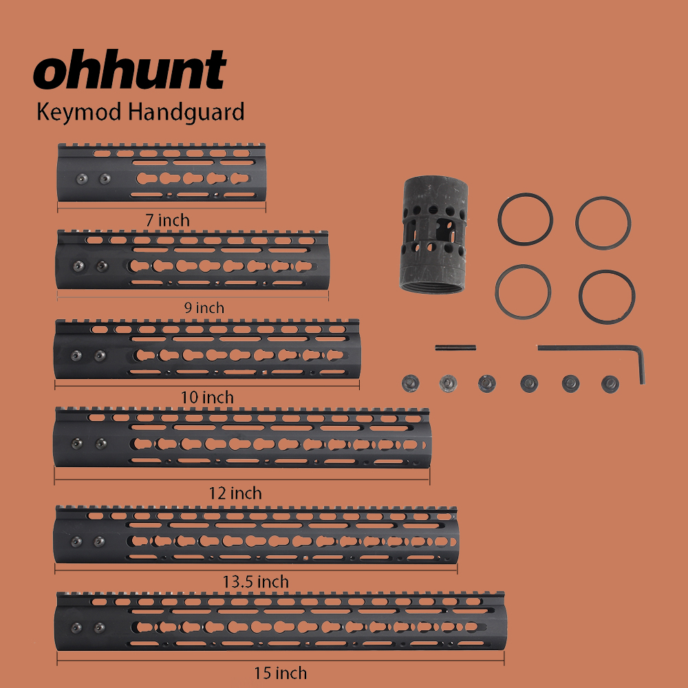 "ohhunt Hunting Tactical AR-15 Rail NSR 7 ""9"" 10 ""12"" 13.5 ""15"" Rail KeyMod Handguard Picatinny Rail with Rail Barrel Steel"