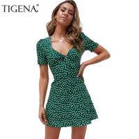 d9b1e762090 Tigena женское летнее платье 2019 цветочный принт Бохо Сексуальное мини  короткое пляжное летнее платье и сарафан