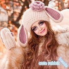 Шапочка и Перчатки Милые Женщины Девушка Кроличьи Уши Шляпа с Большими Цветами Зима Теплая Вязать Шапки Ручной