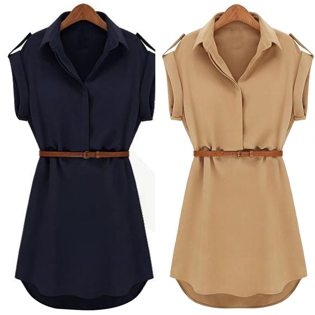 38#Women Casual Summer Loose Short Sleeve Chiffon Dress With Belt Hot Sale Office Lady Style Dresses 2020 New Fashion Vestidos