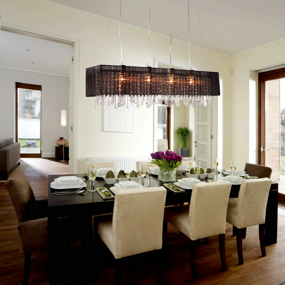 Dining room chandeliers with shades - Mamei Free Shipping Modern 4 Lights Rectangle Crystal Pendant Chandelier Light Fixtures With Black Lamp Shade