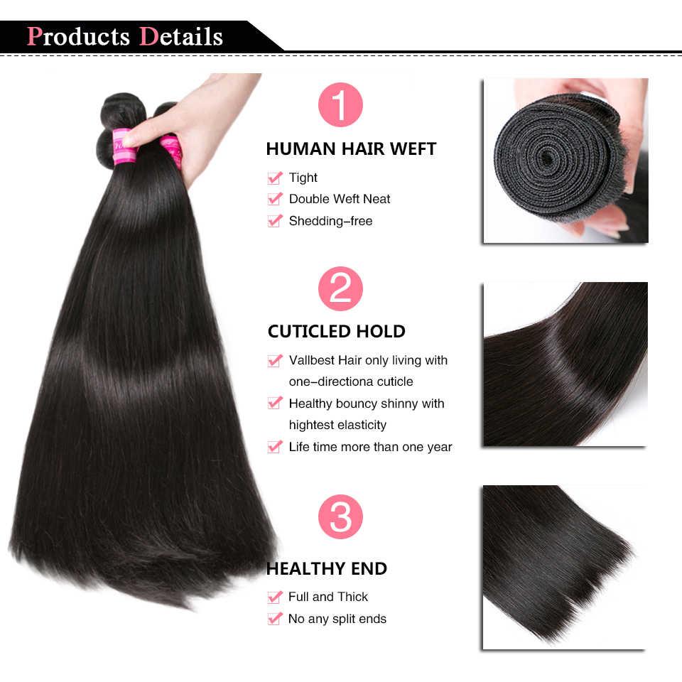 Vallbest perulu düz saç İnsan saç demetleri Remy saç ekleme doğal siyah ve Jet siyah 100 g/adet makine çift atkı