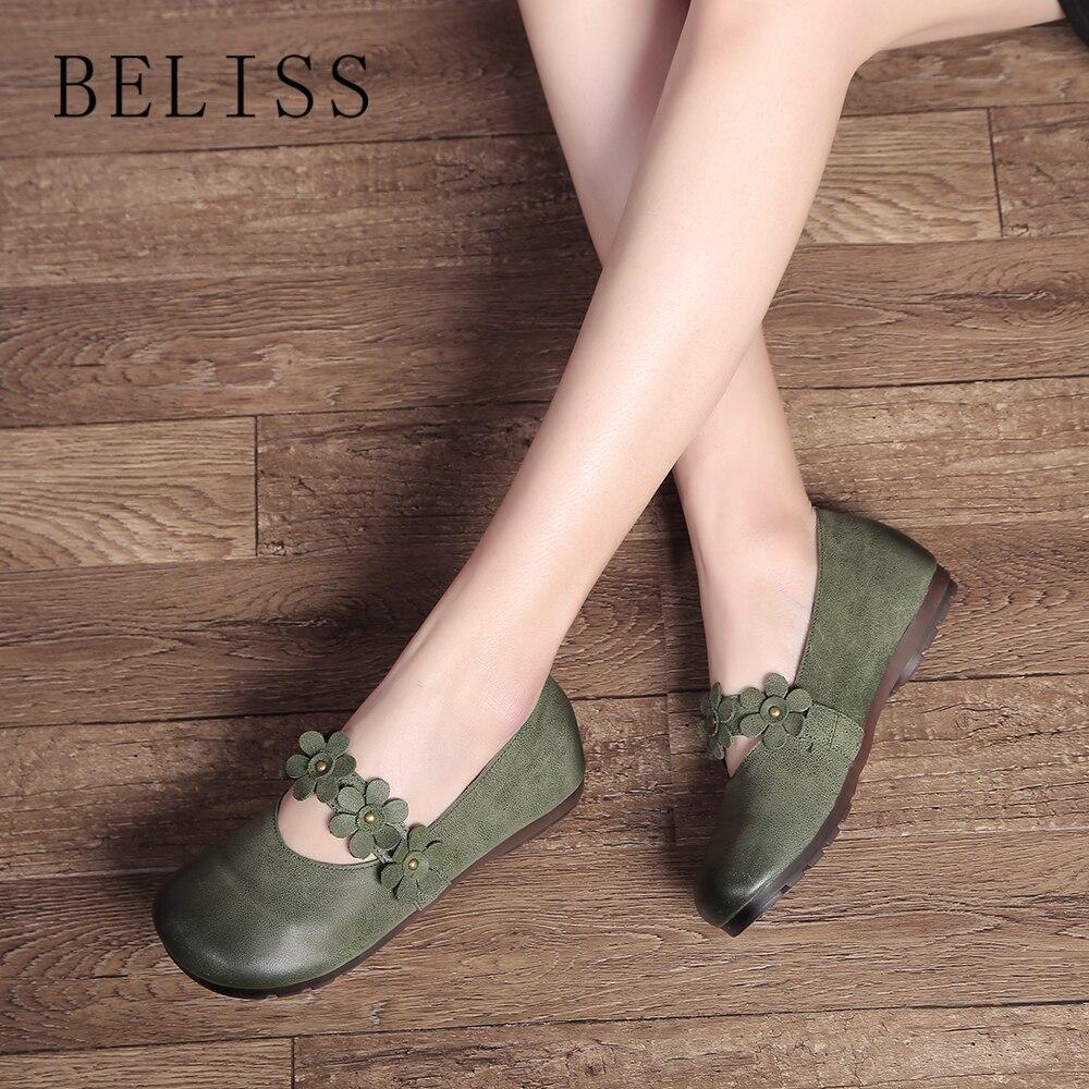 BELISS mode femmes chaussures décontractées de haute qualité en cuir souple chaussures femme tête ronde fleur rivet chaussures plates chaussures pour femmes P10