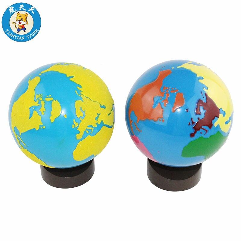 Montessori géographie matériel d'enseignement préscolaire jouets pour enfants parties du monde (couleur) et Globe des Continents (mat)
