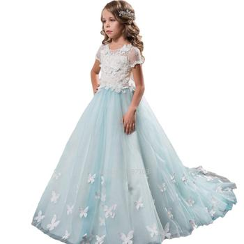 Country White Ivory Lace Flower Girl Dresses First Communion Party Gown Pageant Dress Kids Girls Ball Gown White Tulle Dress