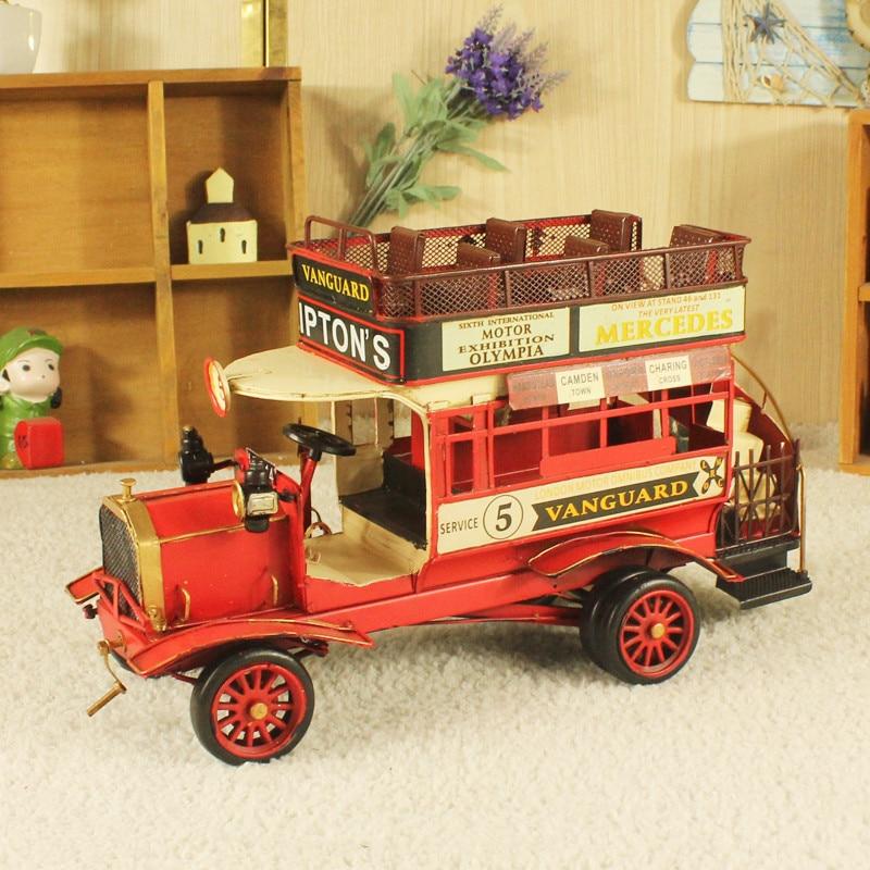 Haute qualité voiture modèle jouets rétro fer rétro à impériale tourisme bus décoration de la maison cadeaux créatifs