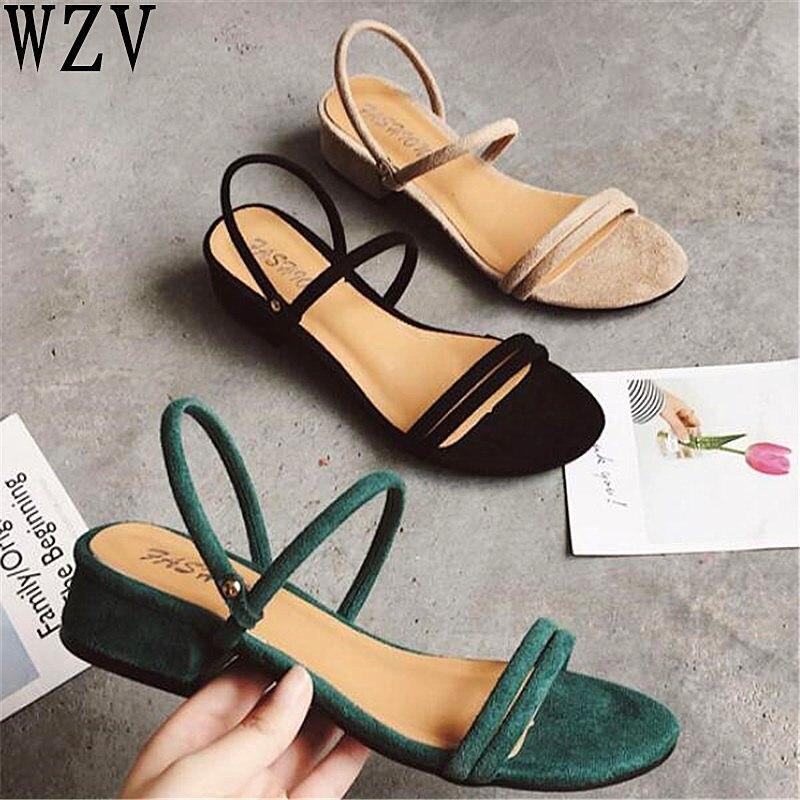 facfff5111dc61 C504 Femme 2019 De Femmes Noir Sandales Talons Bas Rome vert D'été kaki  Chaussures Slip ...