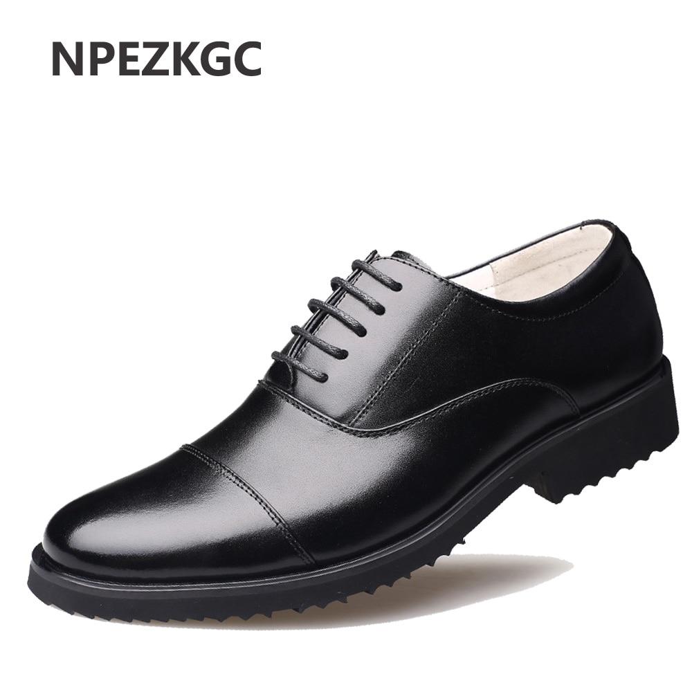 NPEZKGC nowy 2018 biznes sukienka męskie buty wizytowe ślubne szpiczasty nosek mody oryginalne skórzane buty mieszkania Oxford buty dla mężczyzn w Buty wizytowe od Buty na AliExpress - 11.11_Double 11Singles' Day 1