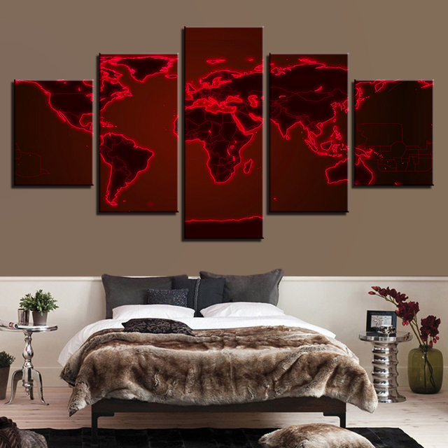 Canvas wall art pictures hotel room framework 5 pieces abstract red canvas wall art pictures hotel room framework 5 pieces abstract red light world map paintings hd gumiabroncs Choice Image