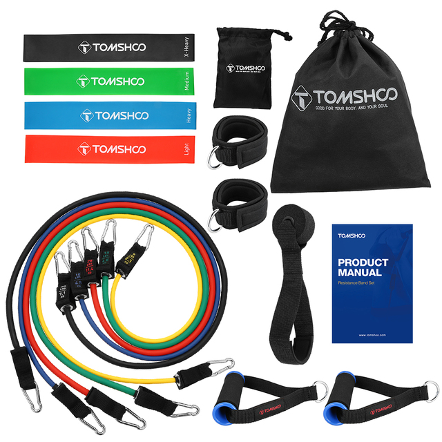 ca338b0bb9 TOMSHOO 17Pcs Latex Resistance Bands Set Yoga Exercise Fitness Band Rubber  Loop Tube Bands Gym Door