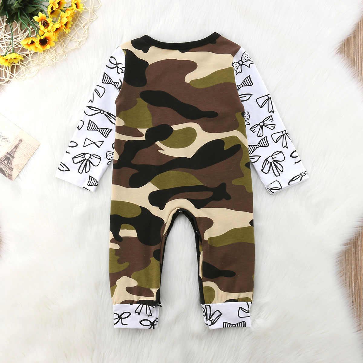 Комбинезон для маленьких девочек, комбинезон для мальчиков, коcтюм с длинными рукавами, хлопковая одежда зеленого цвета в армейском стиле Одежда для маленьких мальчиков от 0 до 24 месяцев