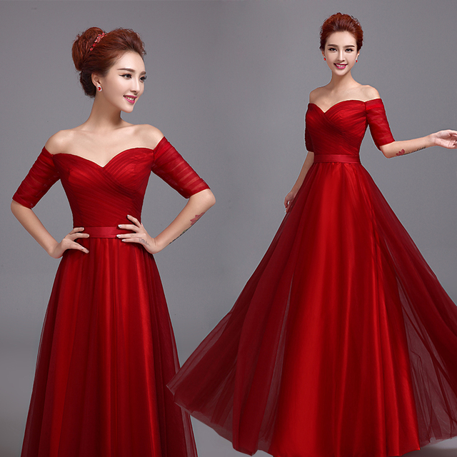 f3835ce1a Robe de soiree 2017 red long Off Shoulder Strapless evening dress Vestidos  de festa vestito da sera vestido de noche prom dress