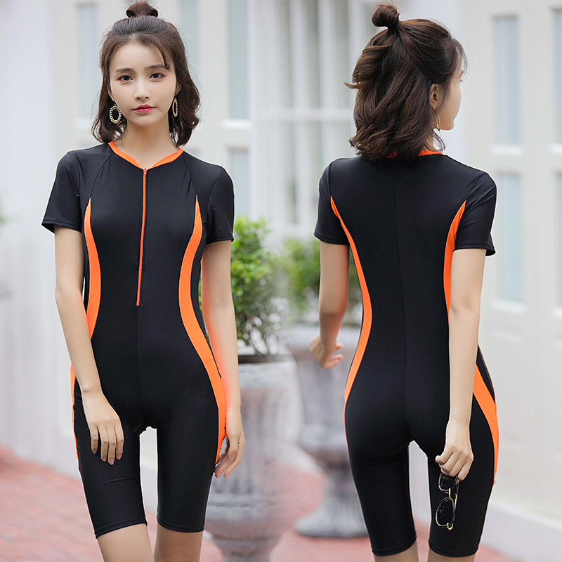 New Zipper 2018 Women Sports One Piece Swimsuit Knee Long Swimwear Black Slimming Bodysuit Sexy Backless training Bathing Suit women sexy front zipper rashguard 2017 colorful bodysuit long sleeve swimsuit one piece swimwear surfing bathing suit