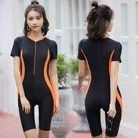 New Zipper 2018 Women Sports One Piece Swimsuit Knee Long Swimwear Black Slimming Bodysuit Sexy Backless training Bathing Suit