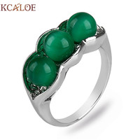 KCALOE Green Engagement Rings For Women Fashion Round Stone Natural Stone Silver Plated Ring Rhinestone Vintage
