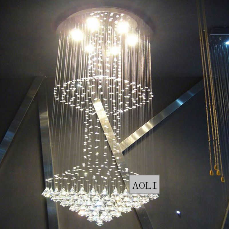 Chandeliers Sincere 2016 Hot Selling Modern 2 Layers Crystal Chandelier Lampada Led Living Room Lamp Led E27 Di50cm*h120cm Lustres Hanging Light To Win Warm Praise From Customers Ceiling Lights & Fans