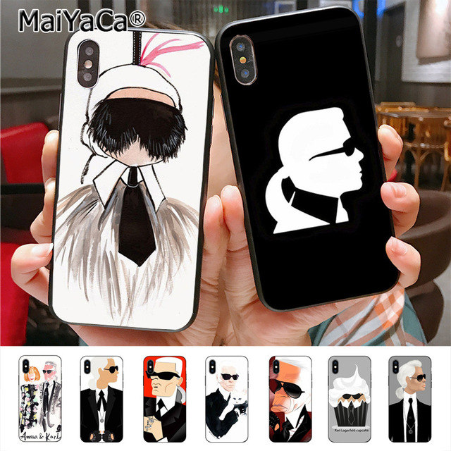 sports shoes ab9b0 802a3 US $1.3 |MaiYaCa drawing of karl lagerfeld Newest Fashion Luxury phone case  for Apple iPhone X Xs Xr Xs max 8 7 6 6S Plus 5 5S SE 5C cass-in ...