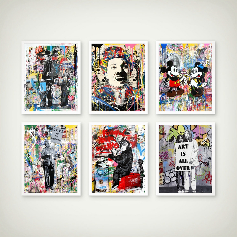 Street Art Canvas Painting Graffiti Art Pictures Prints Charlie Chaplin Oil Painting Modern Wall Arts Prints Living Room Decor