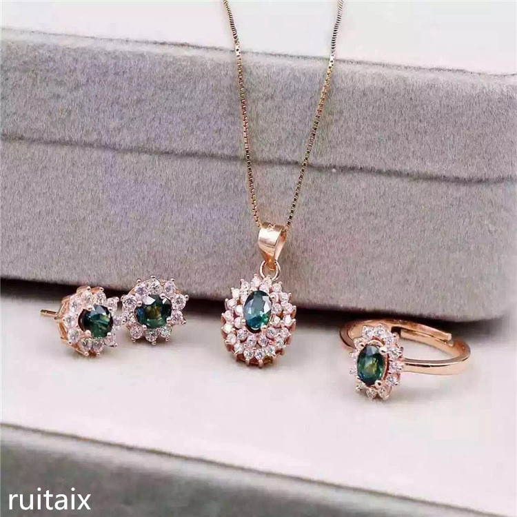 KJJEAXCMY boutique jewels S925 silver inlay natural sapphire diamond female style pendant  necklace  ring  earrings set giftsKJJEAXCMY boutique jewels S925 silver inlay natural sapphire diamond female style pendant  necklace  ring  earrings set gifts