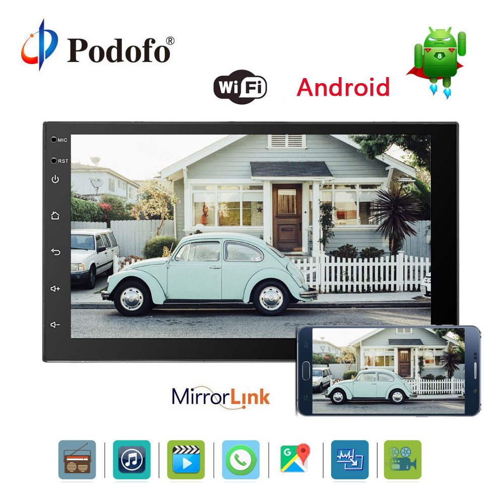 Podofo 7 ''2 Дин Радио мультимедийный плеер Android 6,0 Bluetooth gps навигация в тире WI-FI Зеркало Ссылка USB аудио плеер