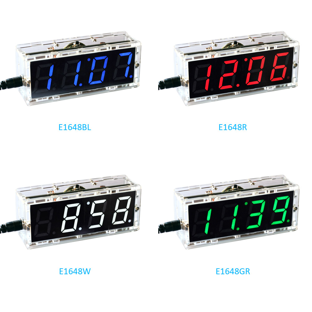 DIY Digital Clock Voice Timekeeping Clock Kits LED DIY SCM Training Diy Electronic Clock/Watch 4 Colors Optional Free Shipp #2D