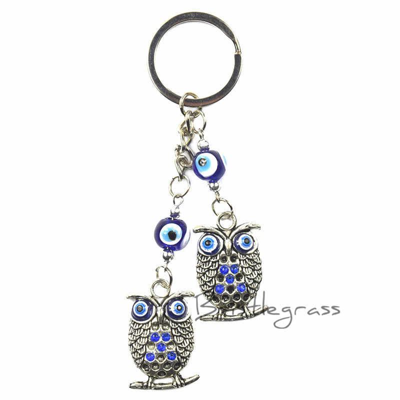 BRISTLEGRASS Thổ Nhĩ Kỳ Xanh Evil Eye Rhinestone Owl Keychain Car Key Chain Vòng Chủ Bùa May Mắn Quyến Rũ Treo Mặt Dây Chuyền Phước Lành