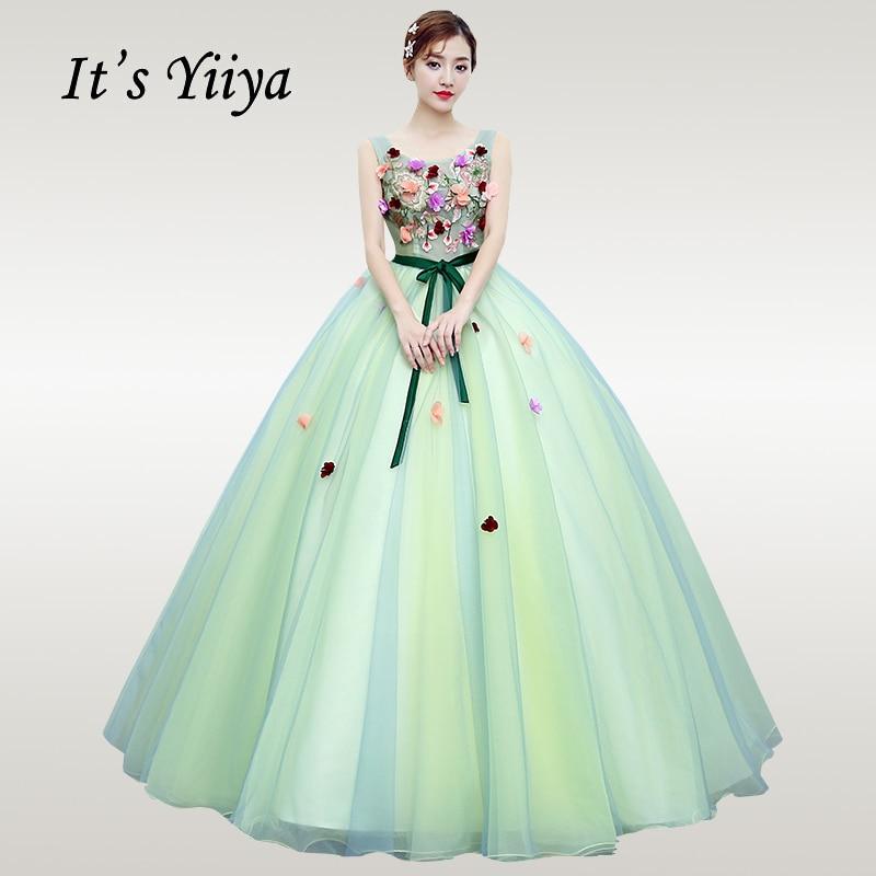 It's YiiYa Wedding Dress 2019 Green Flowers Sleeveless O-neck Wedding Dresses Elegant Floor Length Bow Vestido De Novia CH013