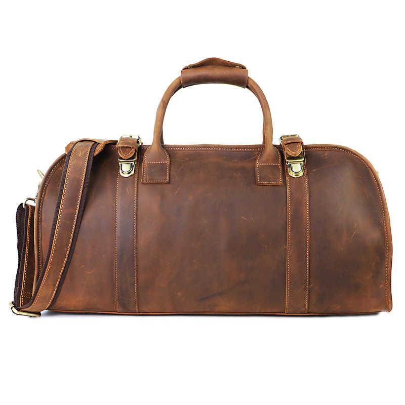 021959cf8e14 Роскошные ручной работы Crazy Horse кожа Hasp Для мужчин с дорожные сумки  Винтаж отличного качества из
