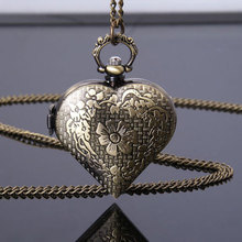 Bronze Hollow Quartz Heart-shaped Pocket Watch Necklace Pendant Chain Womens Gift