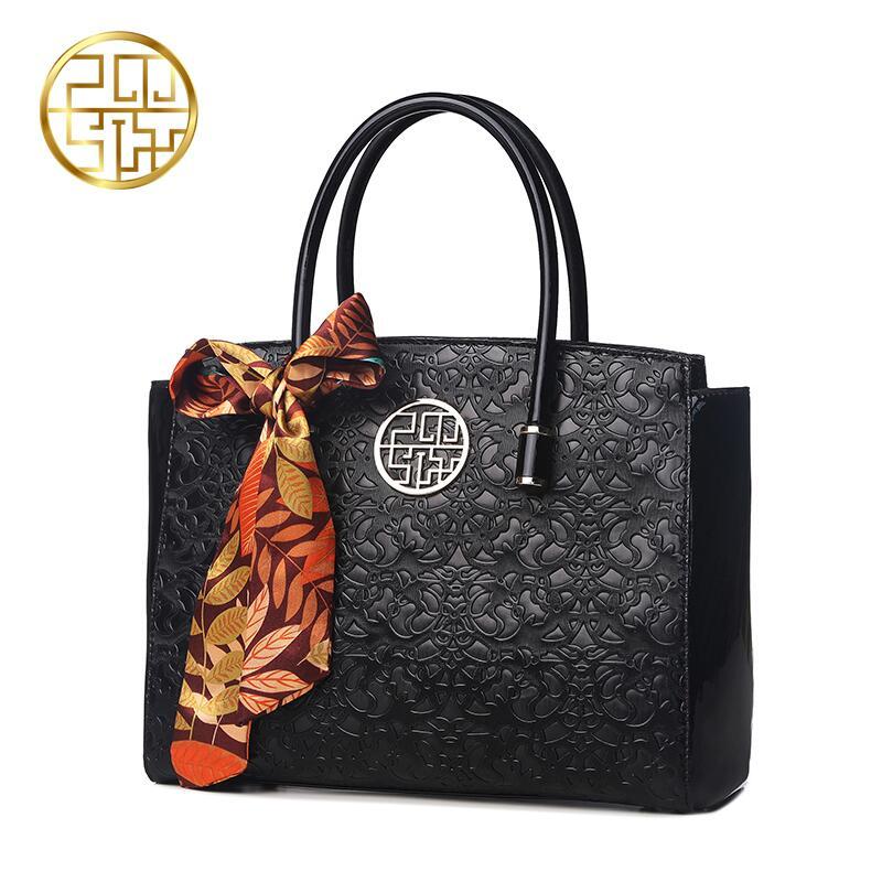 Pmsix2018 luxury fashion new Chinese middle-aged women's handbags maternity scarves handbag embossed shoulder bag Messenger bag
