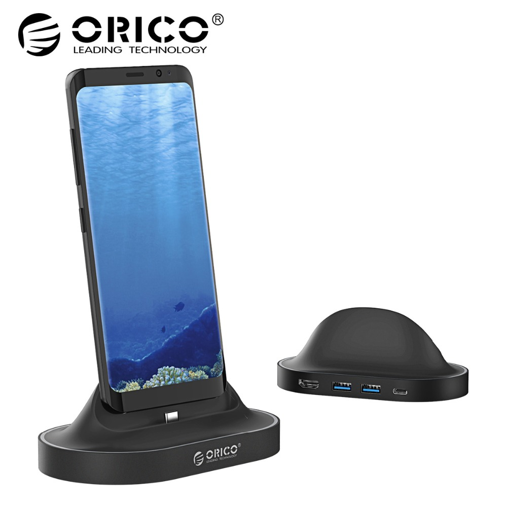 ORICO Type-C Docking Station with Phone Stand USB C To HDMI USB3.0 60W PD Charging USB3.0 HUB For HUAWEI Mate10,Samsung S8 for huawei mate10 painted cover lady phone cover
