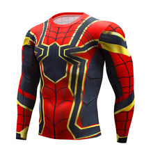 Latest Avengers 2017 Fashion Men's T-Shirt Marvel Super Hero Spiderman T-Shirt Men's Fitness T-Shirt Compression Shirts Tights(China)