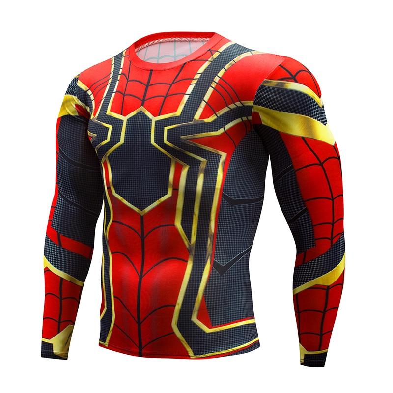 Latest Avengers 2017 Fashion Men's   T  -  Shirt   Marvel Super Hero Spiderman   T  -  Shirt   Men's Fitness   T  -  Shirt   Compression   Shirts   Tights