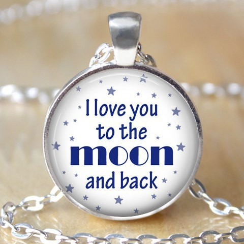Custom necklacefamous quote pendant necklacei love you to the moon custom necklacefamous quote pendant necklacei love you to the moon and back mozeypictures Images