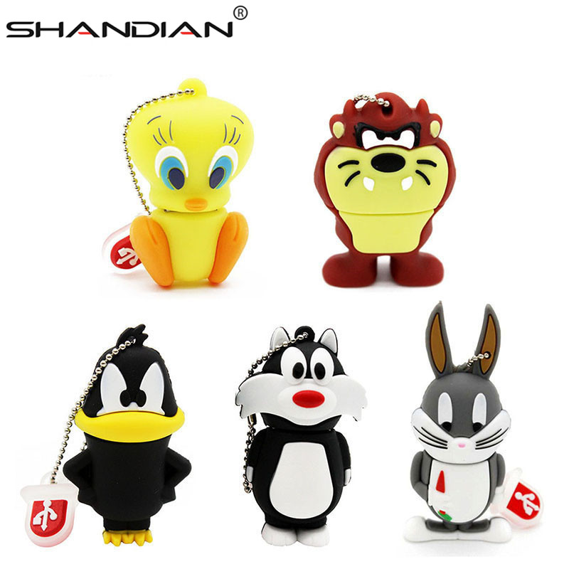 SHANDIAN Free Shipping Cartoon Duck USB Flash Drive /cartoon Pen Drive Cool Gift Animal 4GB/16GB/32GB 64gb Cute Mini U Disk