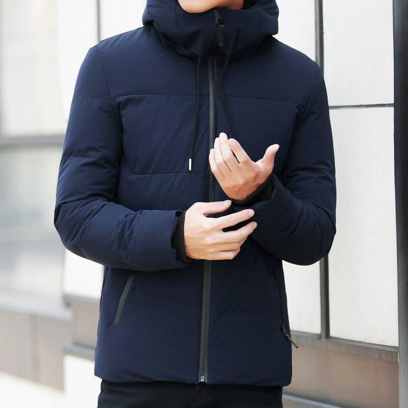 Marque hiver veste hommes vêtements 2018 décontracté col montant à capuche col mode hiver manteau hommes parka chaud Slim fit 4XL - 2