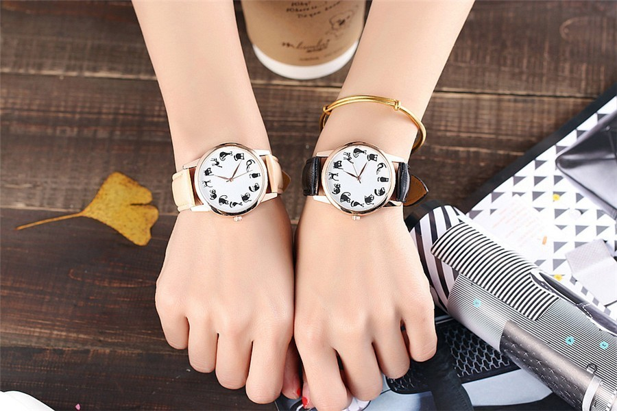 Casual Fashion Ladies Women Cat Design Quartz Watch