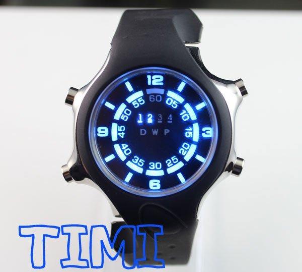 Nova moda Silicone binário azul LED Watch Mens esporte mergulho Digital de presente
