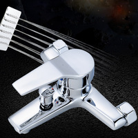 Chrome Shower Faucet In Wall Cold Hot Water Faucet Simple Shower Tub Leading Shower Head Bathroom Mixer Solid Brass