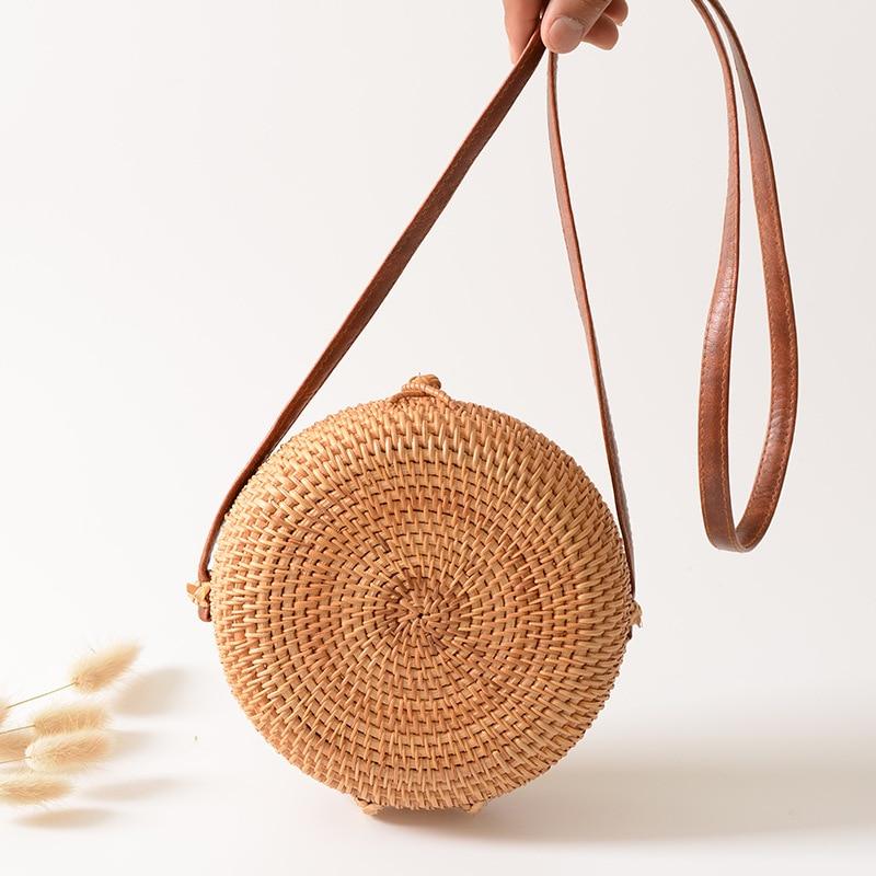 Wholesale Bali Rattan Bags Boho Mini Round Crossbody Bag Beach Travel Shoulder Bag Handmade Wicker Woven Straw Bag Retro Handbag box clutch purse