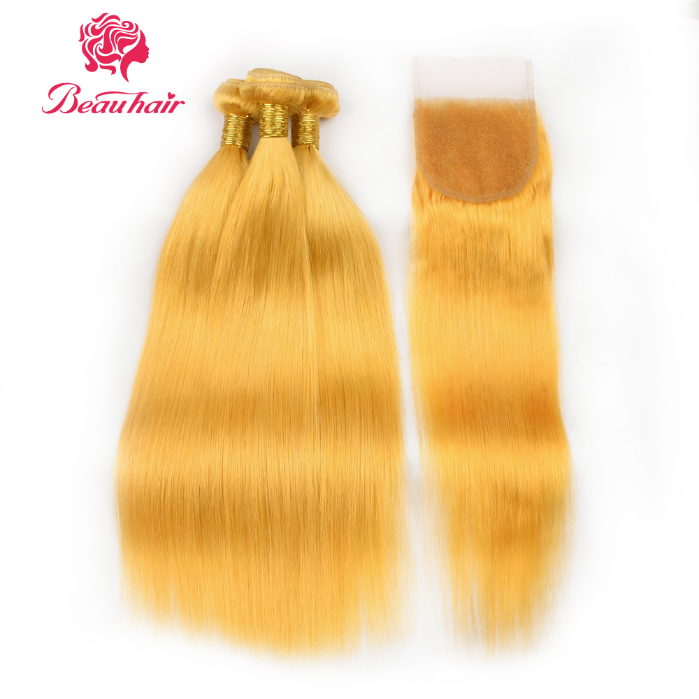 Beauhair Brazilian hair bundles with 4*4 closure Yellow Hair 3 Bundles with closure Remy Human Hair Extensions Free Shipping