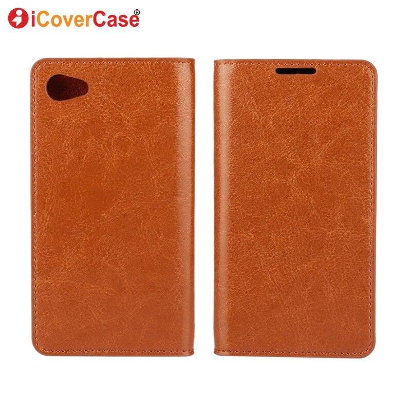 Цена за Подлинная Кожаный Чехол Для Sony Xperia Компактный Z5 Coque Стенд Wallet откидная Крышка Для Sony Z5 Мини Z5 Компактный Капа Мобильного Телефона случае