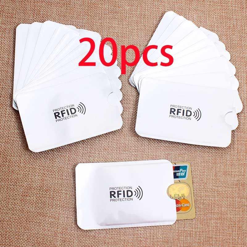 20 pièces Anti Rfid porte-carte NFC blocage lecteur serrure Id porte-carte bancaire étui de Protection en métal étui de carte de crédit en Aluminium