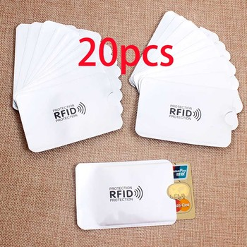 20PCS Anti Rfid Card Holder NFC Blocking Reader Lock Id Bank Card Holder Case Protection Metal Credit Card Case Aluminium