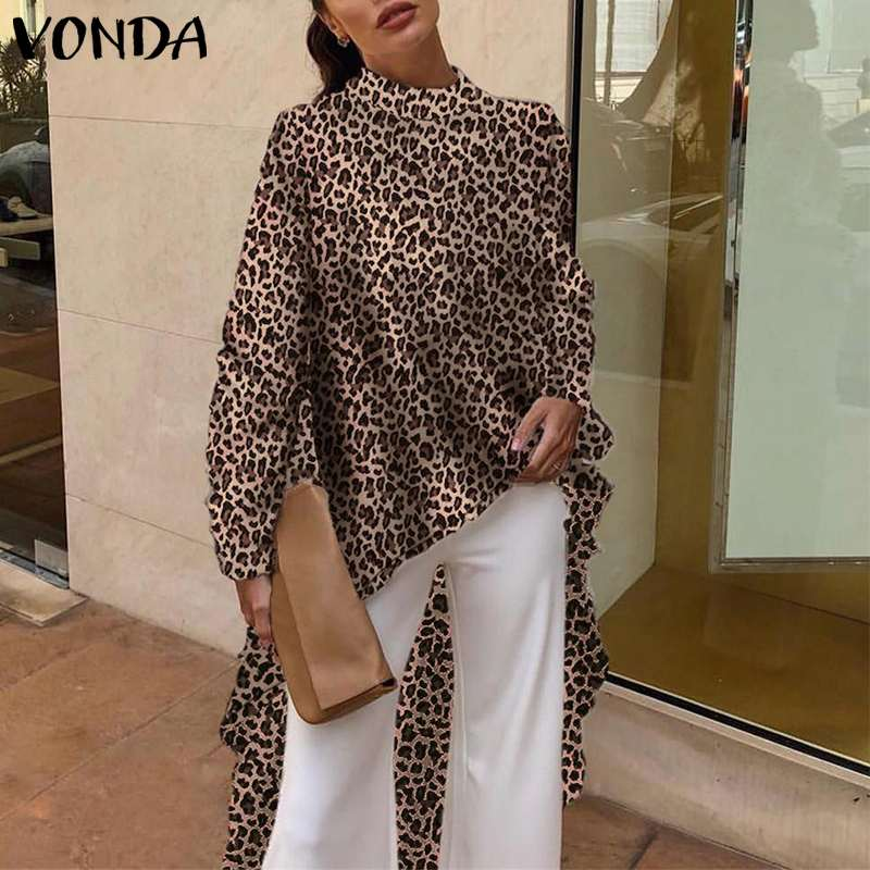 VONDA 2019 Women Summer Long   Shirt     Blouses   Sexy Long Sleeve Casual Leopard Print   Blouse   Office Asymmetrical Blusas Plus Size Top
