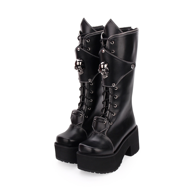 Women's Gothic Punk High Boots Thick Platform Chunky Heels Skull Lace-up Cosplay Boots