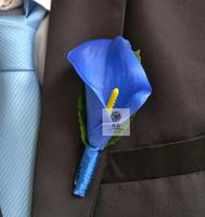 4 PCS Artificial Real Touch Blue Calla Wedding Boutonniere Groom Groomsman Pin Brooch Corsage Man Suit Decor Flowers Accessories